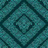 Turquoise seamless floral Pattern. Stock Photo