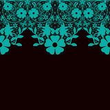 Turquoise seamless lace pattern on black Royalty Free Stock Photos