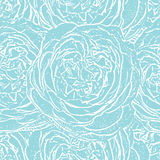 Turquoise seamless monochrome pattern with roses. Royalty Free Stock Photo