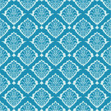 Turquoise seamless ornament. Wallpaper seamless floral damask ornament in turquoise Stock Photo
