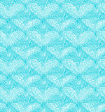 Turquoise seamless pattern with linear hearts. Decorative netting texture. Royalty Free Stock Photos