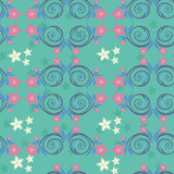 Turquoise seamless pattern with pink flowers. Stock Image