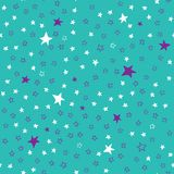 Turquoise seamless pattern with stars Stock Photo