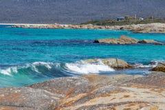 Turquoise seas off east Tasmania coast stock photography