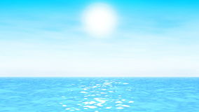 Turquoise seascape. With sun and light clouds stock video
