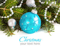 Turquoise and silver Christmas ornaments border Stock Image