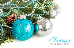 Turquoise and silver Christmas ornaments border Royalty Free Stock Photo