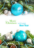 Turquoise and silver Christmas ornaments border Stock Photos