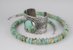 Large Turquoise Silver Cuff Bracelet and Necklace Stock Photos