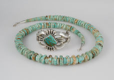 Turquoise Silver Cuff Bracelet and Necklace royalty free stock images