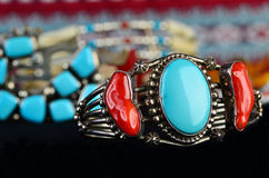 Turquoise and Silver Jewelry Stock Images