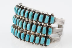 Turquoise and Silver Native American Cluster Cuff Bracelet. Stock Images