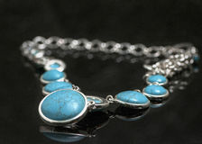 Turquoise and silver necklace Royalty Free Stock Photo