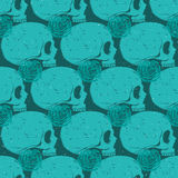 Turquoise skull grunge seamless pattern. Turquoise side-face human skull grunge seamless pattern, vector background Stock Images