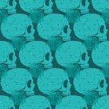 Turquoise skull grunge seamless pattern Stock Images