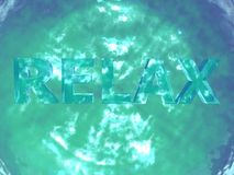 Turquoise sparkling water with Relax sign Royalty Free Stock Photography