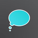 Turquoise speech bubble for thoughts at oval shape. Vector illustration. Turquoise comic speech bubble for thoughts at oval shape with white contour. Empty shape Royalty Free Stock Image