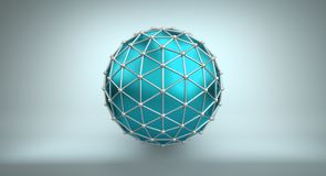 Turquoise sphere and polygonal wireframe 3D illustration. Turquoise sphere shape and polygonal metalic wireframe. Abstract 3D illustration rendered with DOF Stock Photography