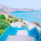 Turquoise Beach stairs stock image