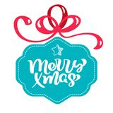 Turquoise stilized Gift box with calligraphy merry Christmas text with ribbon bows. Flat style vector illustration on stock illustration