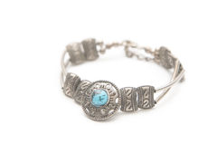 Turquoise stone in a silver bracelet Stock Photography
