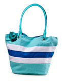 Turquoise striped beach bag Royalty Free Stock Images
