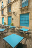 Turquoise tables and doorways in the historic section of old Havana, Cuba Stock Image