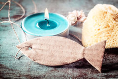 Turquoise Tea candle light, sponge and Tag Royalty Free Stock Image
