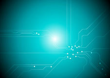 Turquoise tech circuit board background. Vector design royalty free illustration