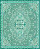 Turquoise template for carpet. Oriental abstract ornament. Turquoise template for carpet, coverlet, shawl, textile and any surface. Ornamental pattern with Royalty Free Stock Photo