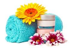 Turquoise towel cream gerbera Stock Images