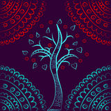 Turquoise tree red lace ornament Royalty Free Stock Images