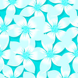 Turquoise tropical Plumeria and Hibiscus floral seamless pattern Royalty Free Stock Photography