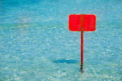 Turquoise tropical sea with red sign blank copyspace Stock Image