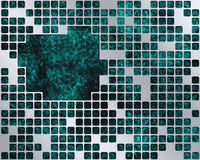 Turquoise Under Metal Grid, place for text Stock Photo