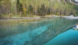 The turquoise Val di Mello lake. A view of famous lake in Val di Mello in the italian alps, details of water with beautiful turquoise colors and reflection in stock photos