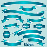 Turquoise vector retro ribbon banners Royalty Free Stock Photography