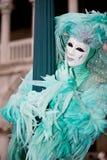 Turquoise Venetian costume Royalty Free Stock Image