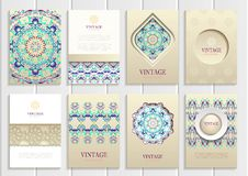 Turquoise vintage frames, ornaments, patterns and Royalty Free Stock Photos