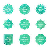 Turquoise vintage watercolor textured badges vector set. Retro style. Royalty Free Stock Photography