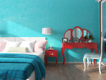 Turquoise wall in the bedroom Stock Photo