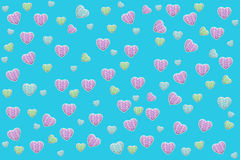 Turquoise wallpaper with  hearts Stock Photos