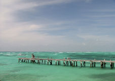 Turquoise water. Isla Mujeres, Mexico stock photography