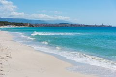 Turquoise water in Alghero shore Stock Photo
