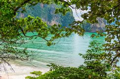 Turquoise water in the beautiful bay of the Andaman Sea Royalty Free Stock Photo