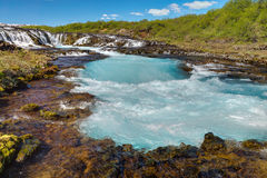 The turquoise water of Bruarfoss Royalty Free Stock Photos