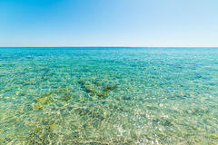 Turquoise water and clear sky in Costa Rei Royalty Free Stock Photography
