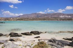 Turquoise water at Elafonisi beach, Crete Island, Greece Stock Photos