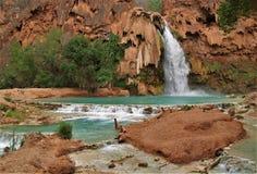 Havasu Falls. Turquoise water fills the pool beneath Havasu Falls in Havasu Canyon royalty free stock image