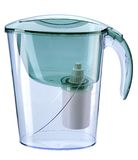 Turquoise water filtration pitcher with filter Royalty Free Stock Image